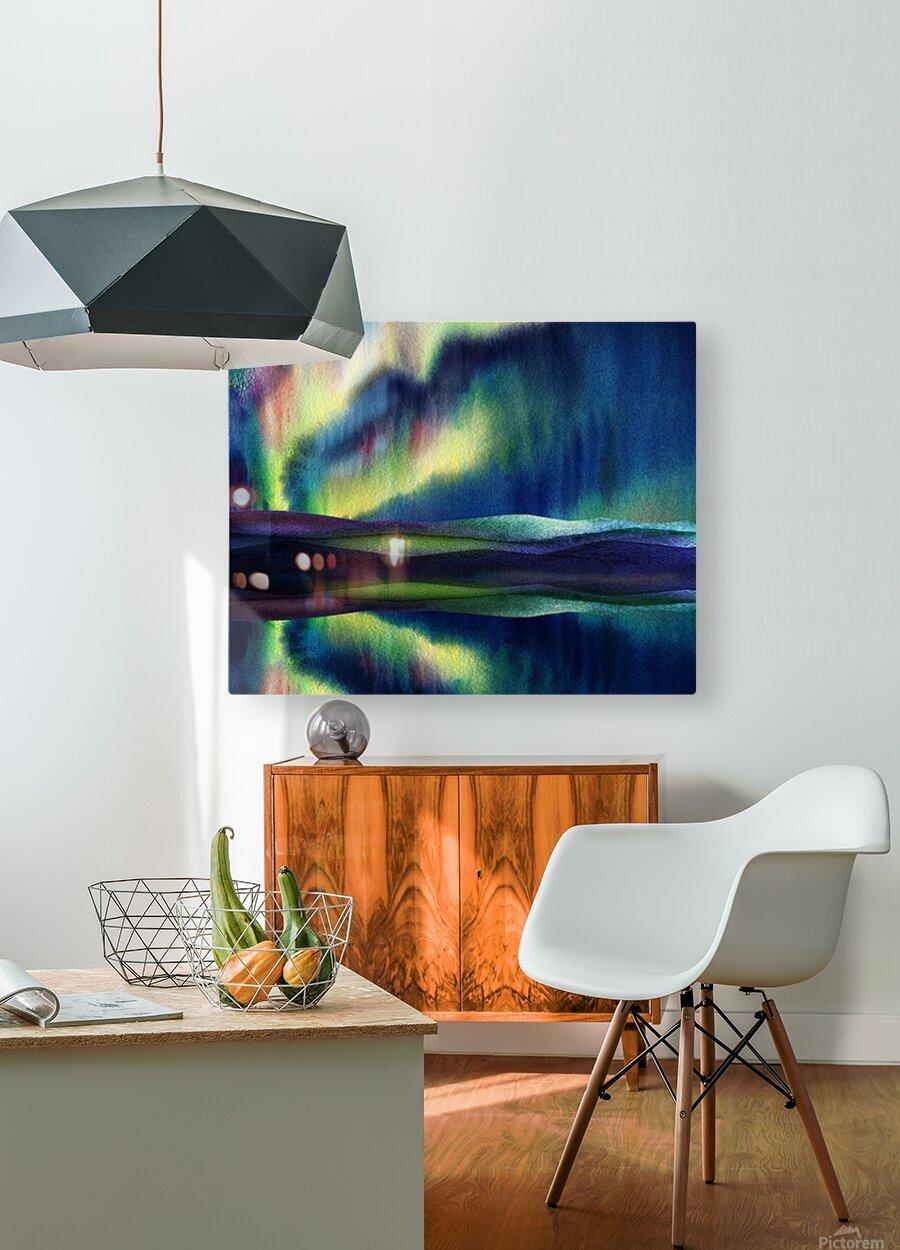 Aurora Borealis Magic Reflections Northern Lake Lights Watercolor  HD Metal print with Floating Frame on Back