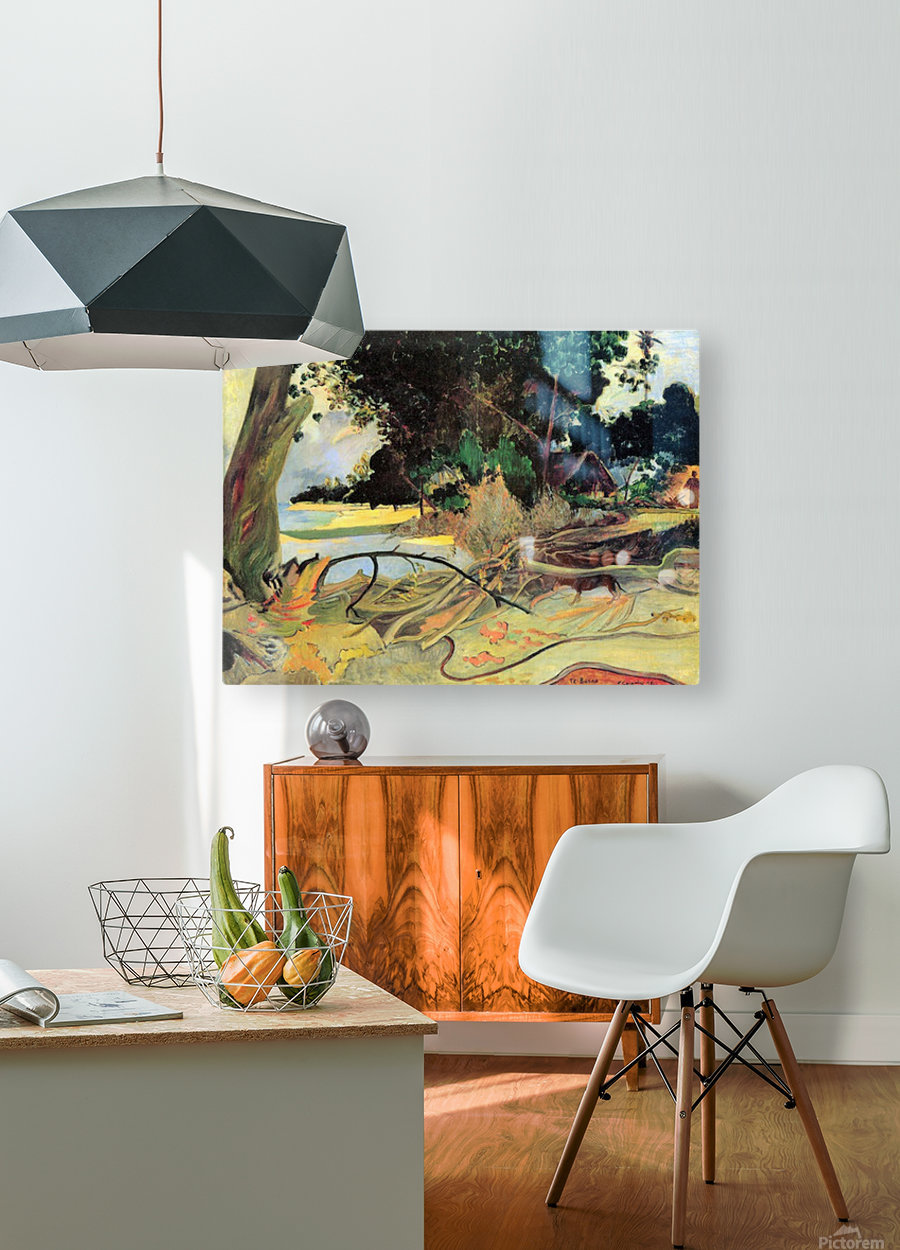 Te Burao by Gauguin  HD Metal print with Floating Frame on Back