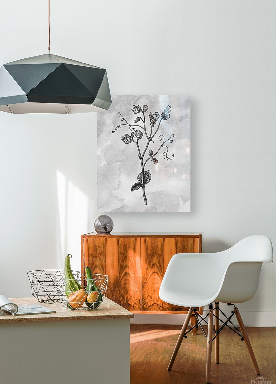 Sweet Pea Simple Gray Botanical Flower On Watercolor Marble   HD Metal print with Floating Frame on Back