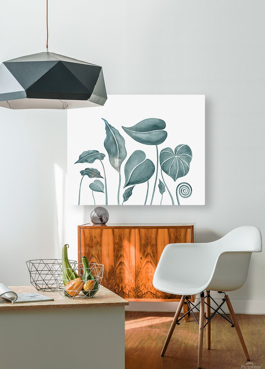 Tropical Leaves Teal Gray Botanical Foliage Watercolor   HD Metal print with Floating Frame on Back