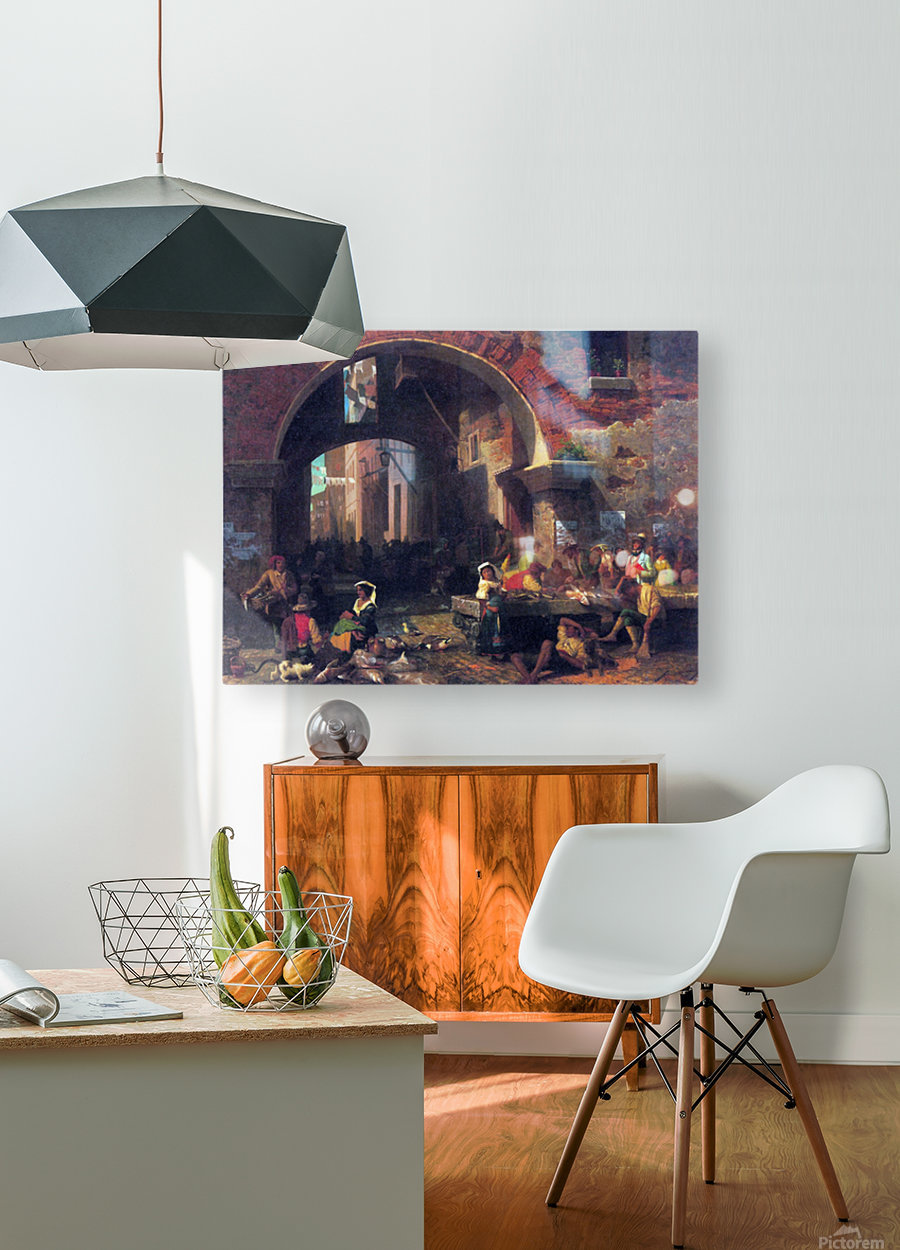 The Arc of Octavius, Roman Fish market by Bierstadt  HD Metal print with Floating Frame on Back