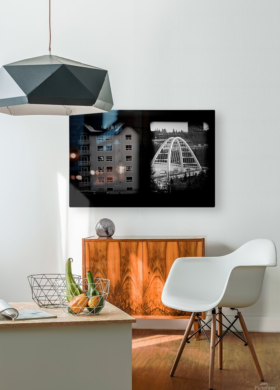 Building and Bridge  HD Metal print with Floating Frame on Back