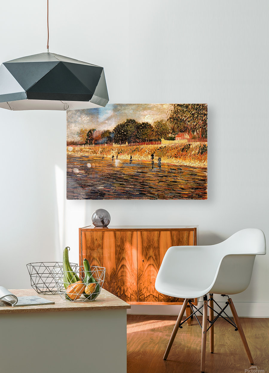 The Banks of the Seine by Van Gogh  HD Metal print with Floating Frame on Back