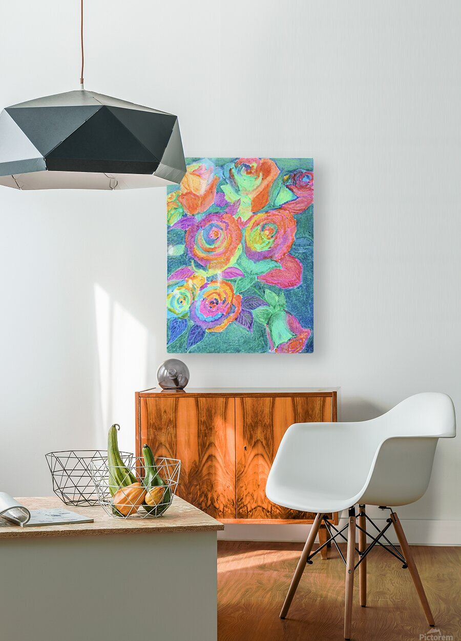 Colorful flowers  HD Metal print with Floating Frame on Back