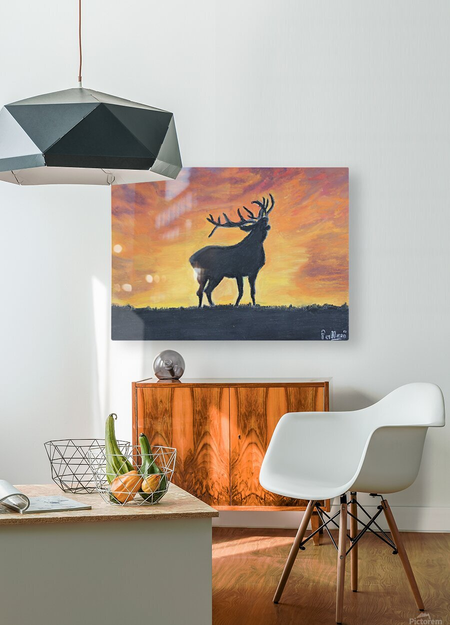 reindeer  HD Metal print with Floating Frame on Back