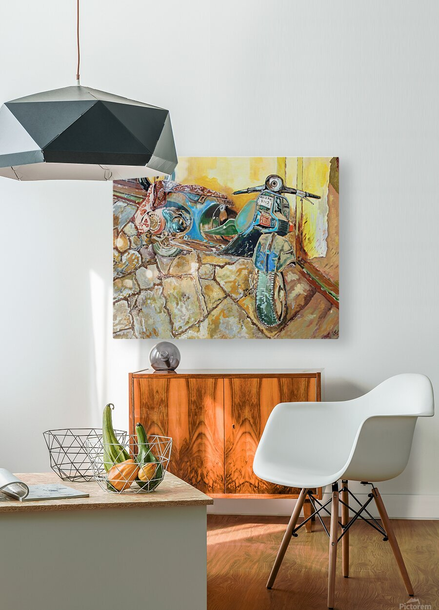 Scooter  HD Metal print with Floating Frame on Back