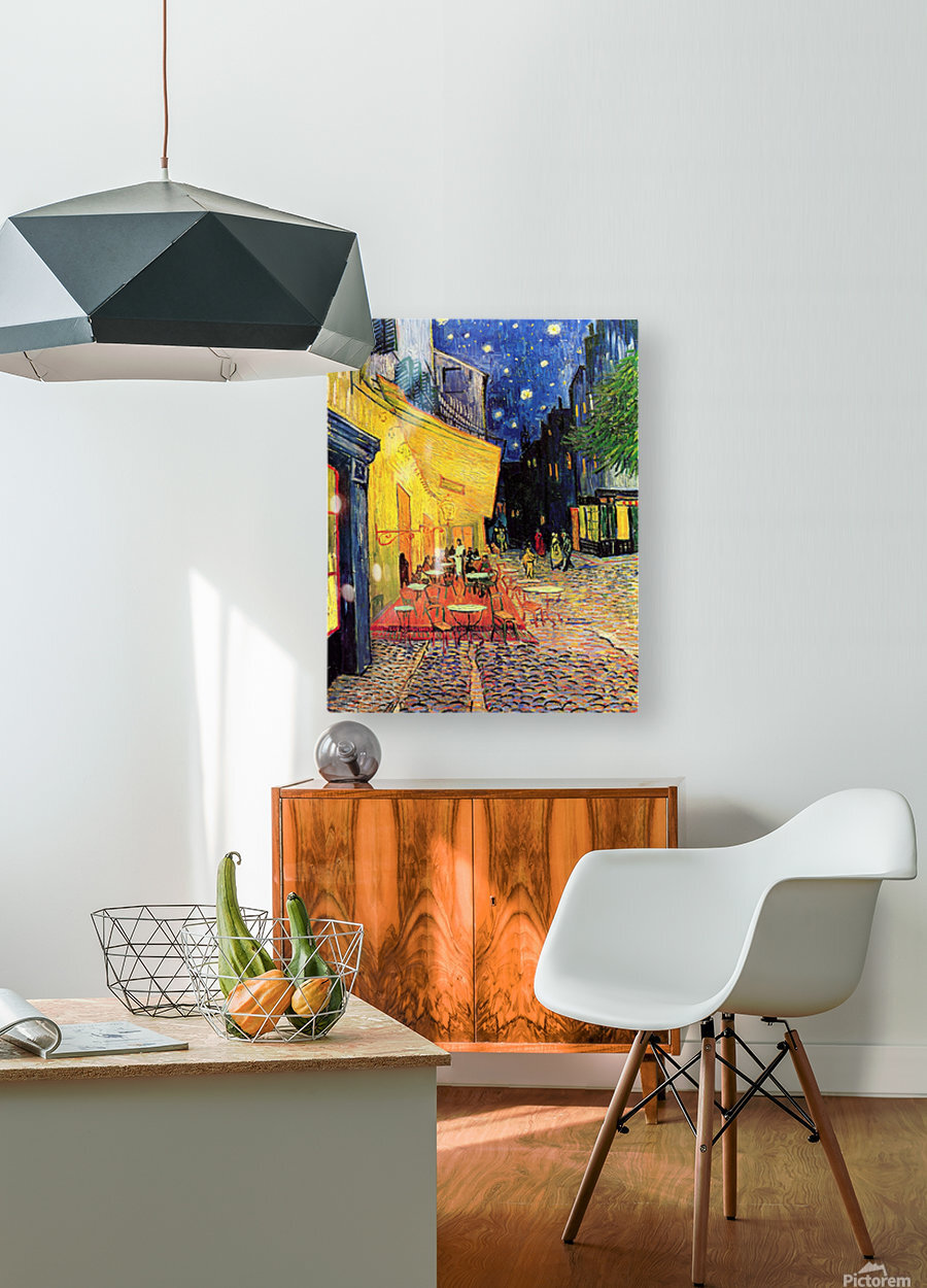 The Cafe Terrace on the Place du Forum Arles at Night by Van Gogh  HD Metal print with Floating Frame on Back