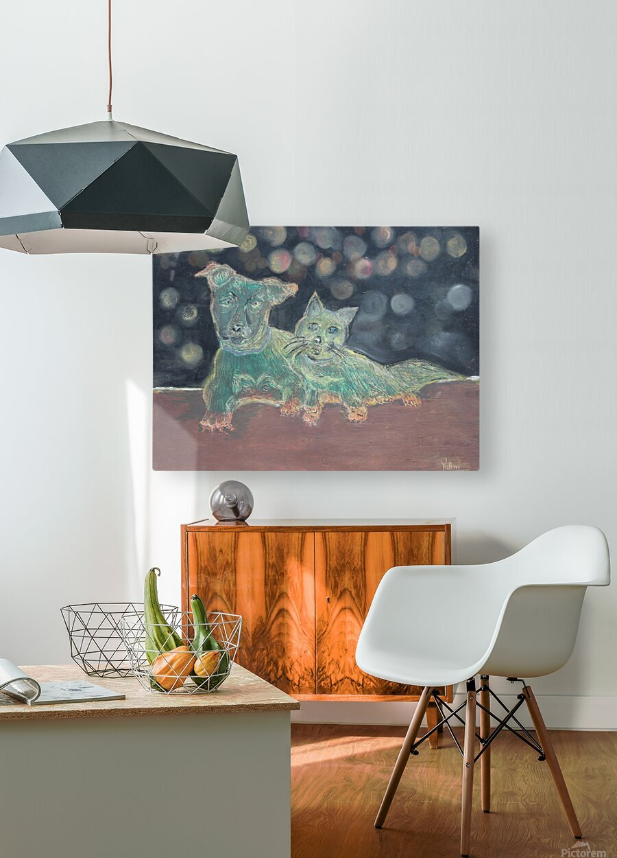 Dogs and cats  HD Metal print with Floating Frame on Back