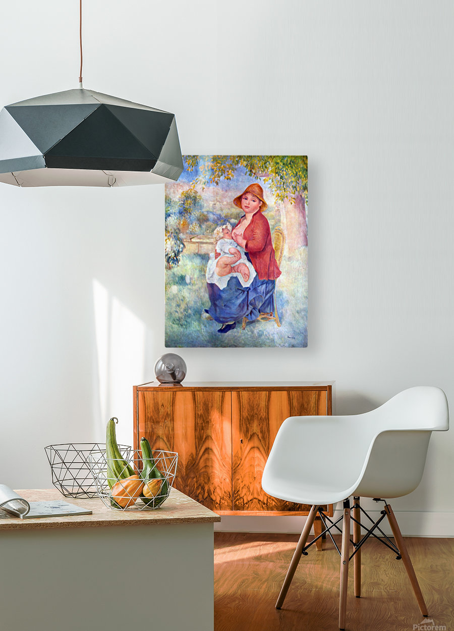 The child at the chest maternity by Renoir  HD Metal print with Floating Frame on Back