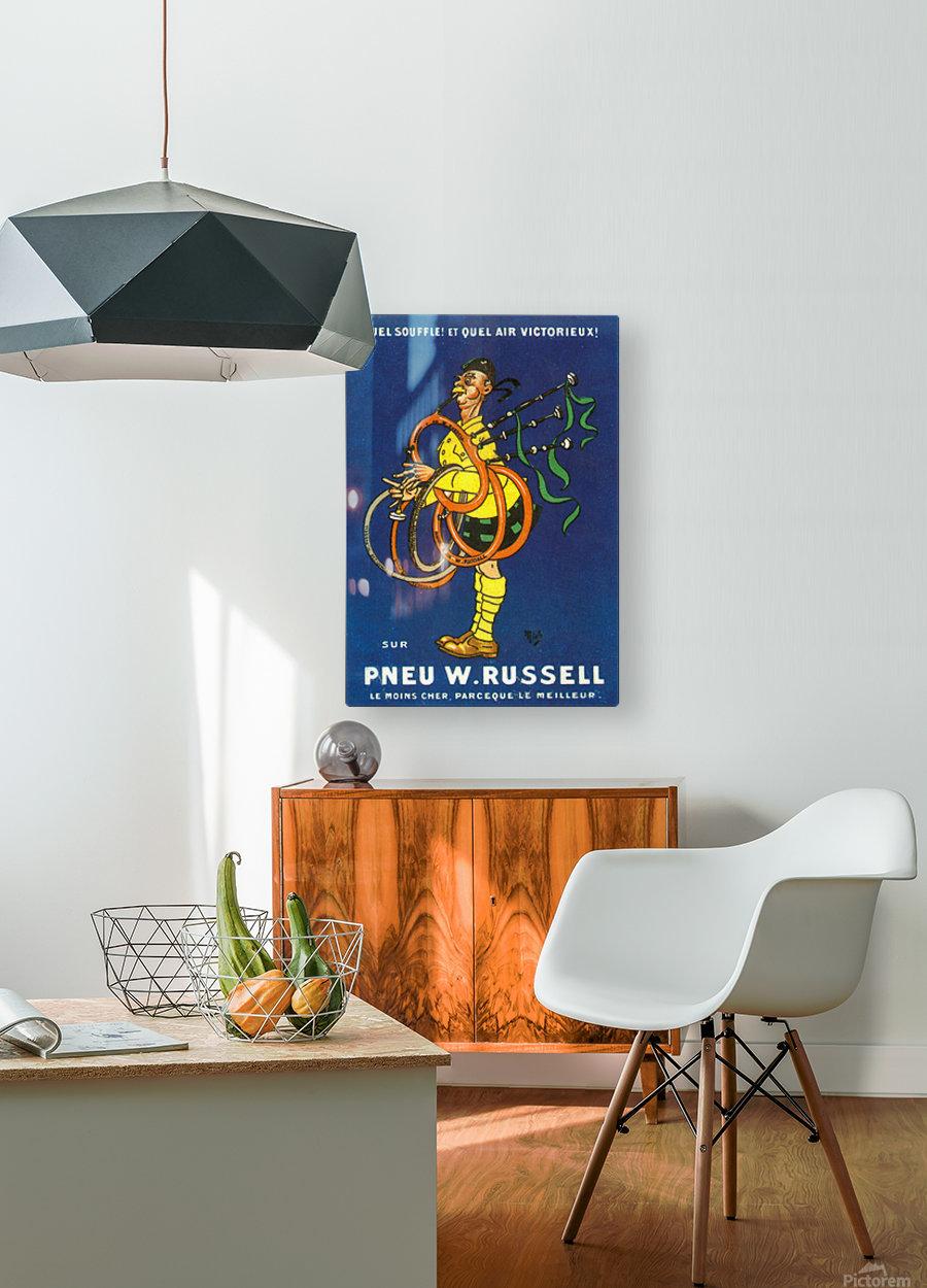 Pneu W.Russell  Impression métal HD avec cadre flottant sur le dos