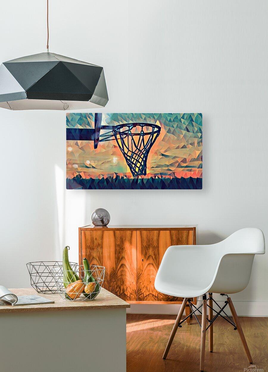 basketball hoop sunset  HD Metal print with Floating Frame on Back