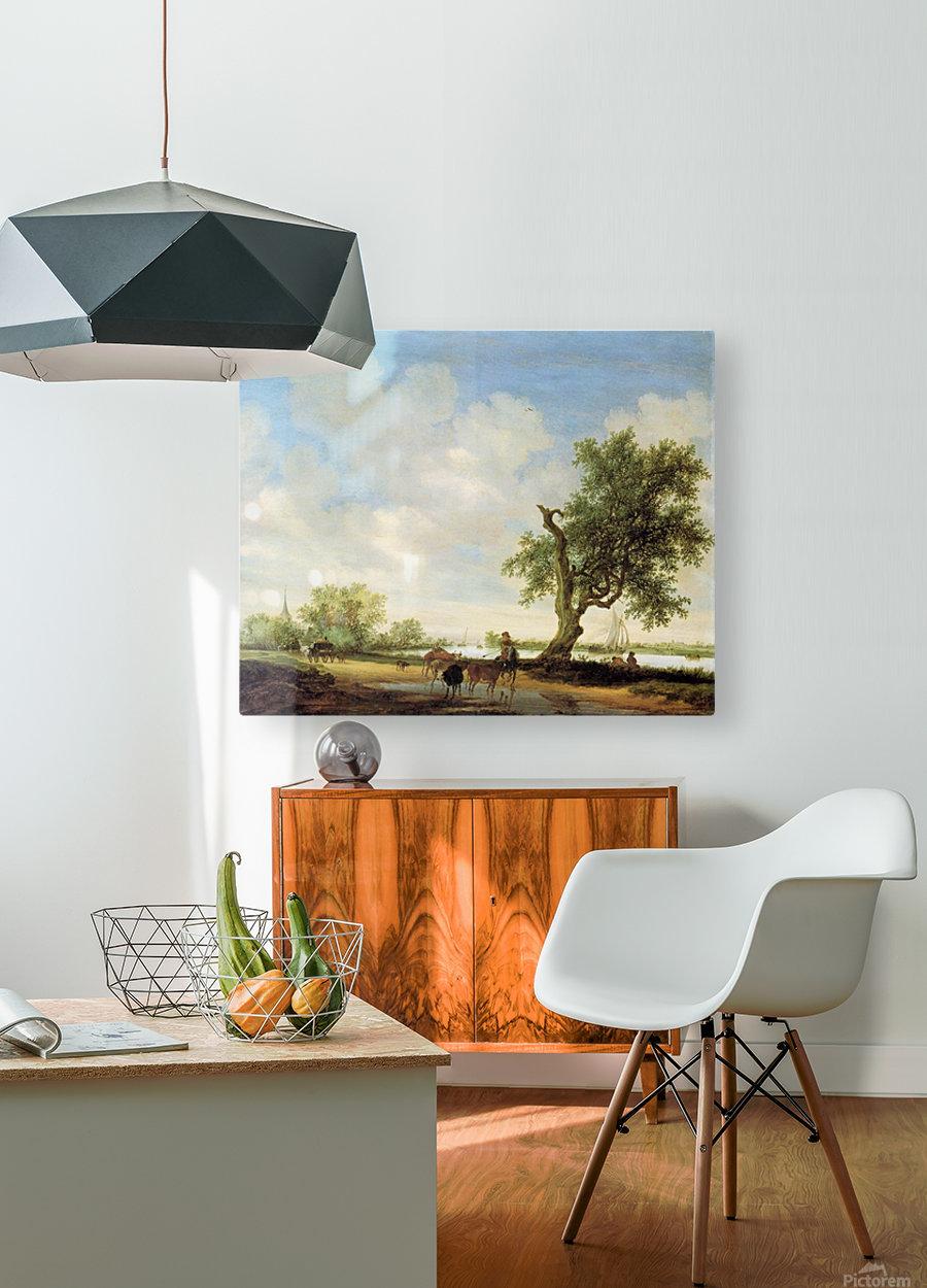 River Landscape with figures  HD Metal print with Floating Frame on Back