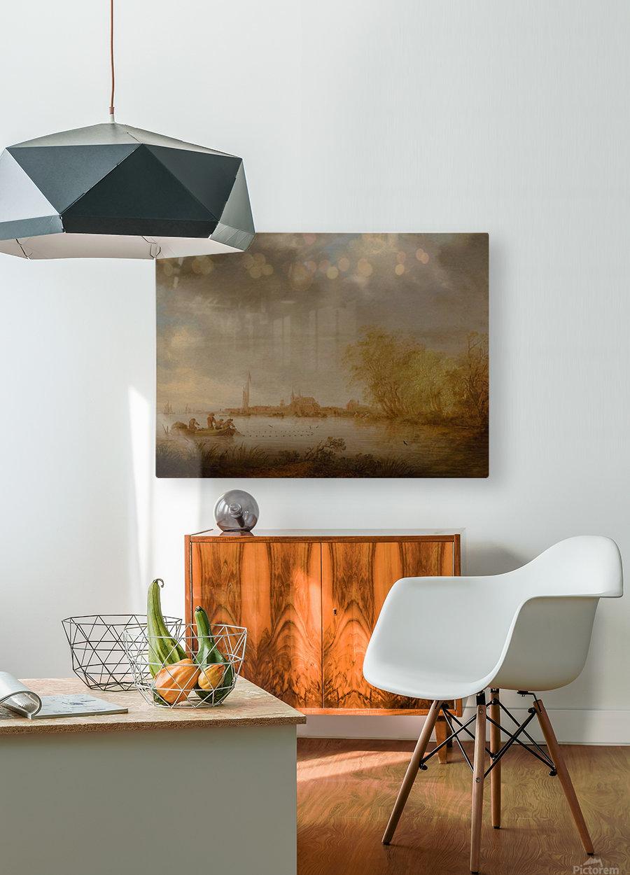 River Scene near Deventer  HD Metal print with Floating Frame on Back