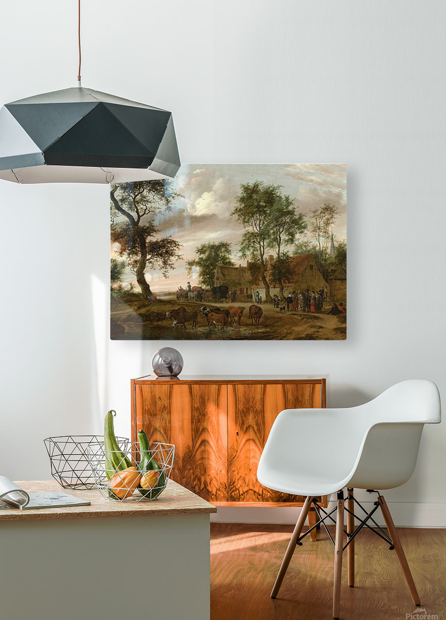 A village landscape with carriages outside an inn  HD Metal print with Floating Frame on Back