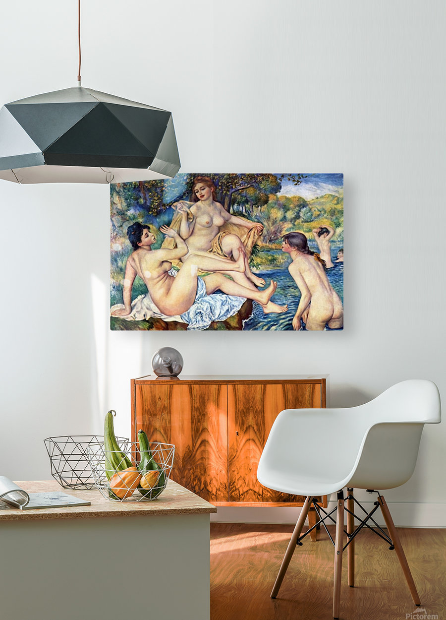 The Large Bathers by Renoir  HD Metal print with Floating Frame on Back