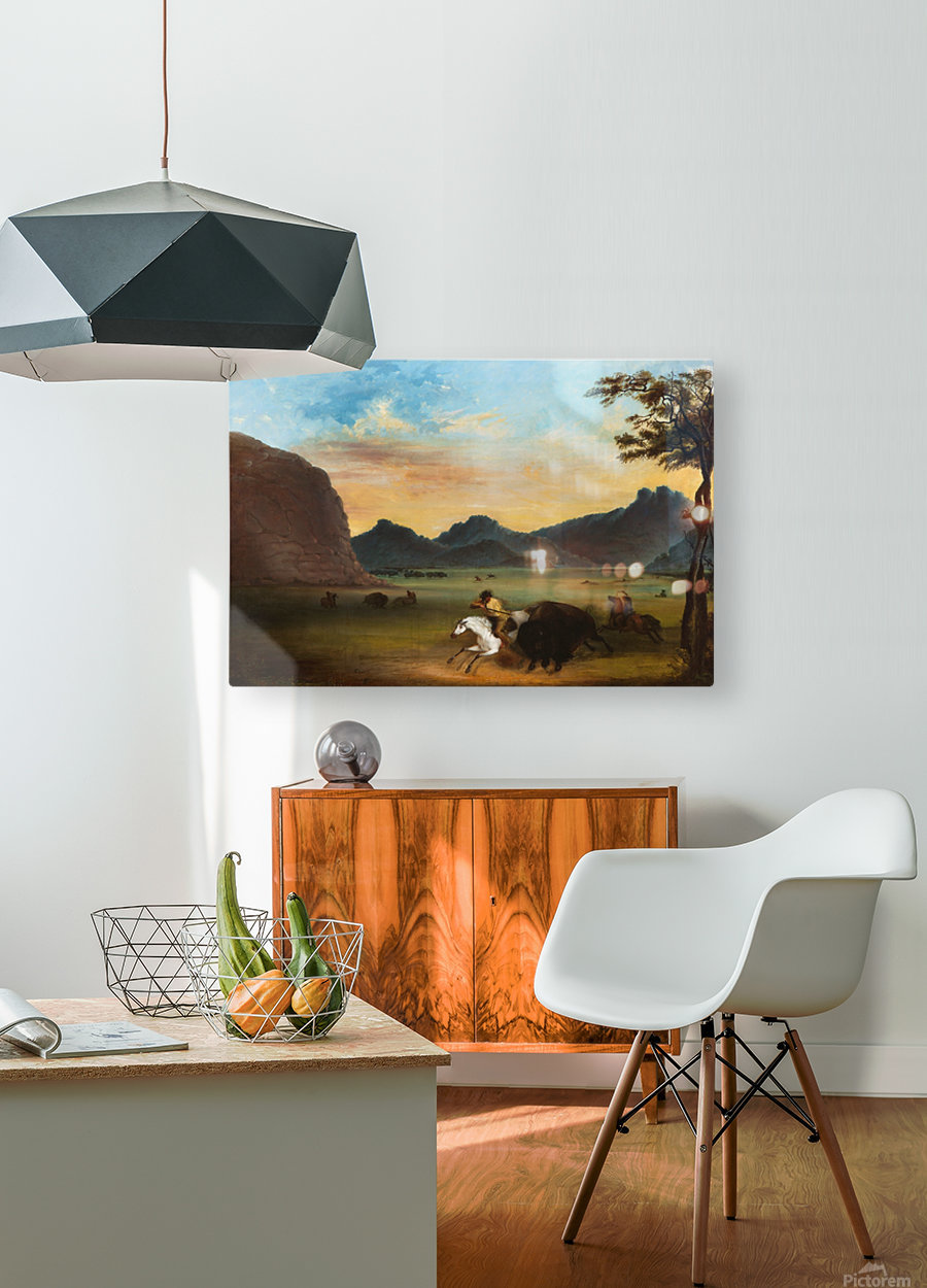 Buffalo Hunt  HD Metal print with Floating Frame on Back