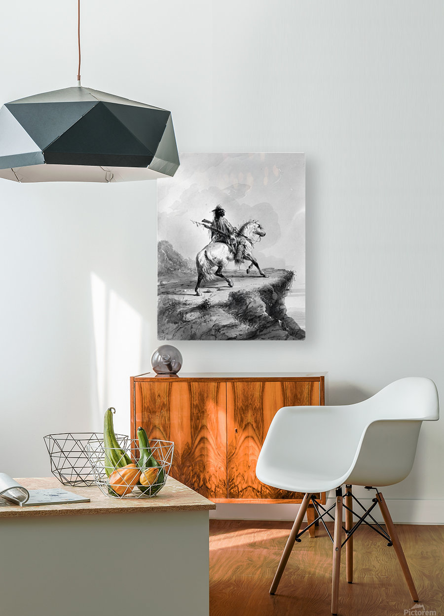 Crow Indian on the Lookout  HD Metal print with Floating Frame on Back