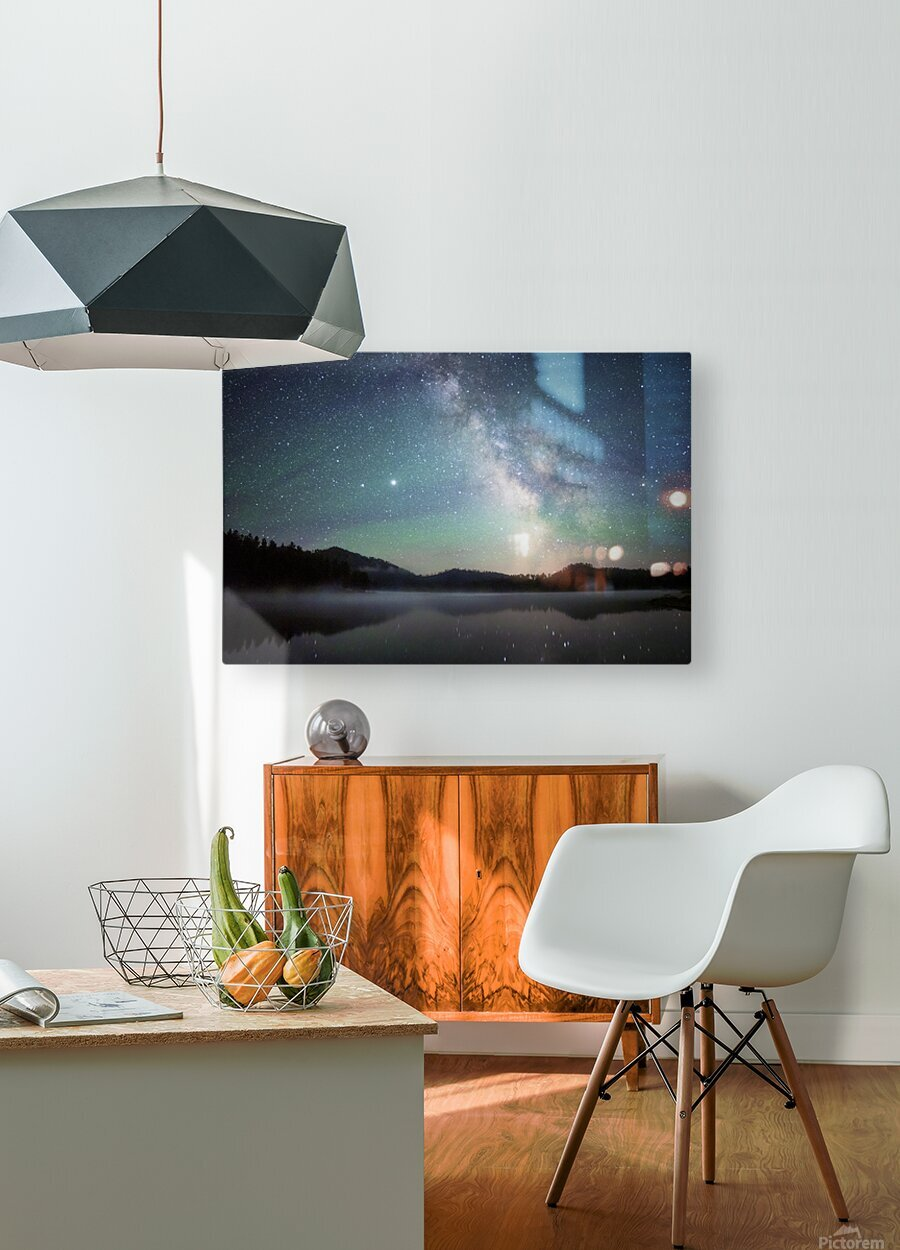 Stockade Lake and The Milky Way  HD Metal print with Floating Frame on Back