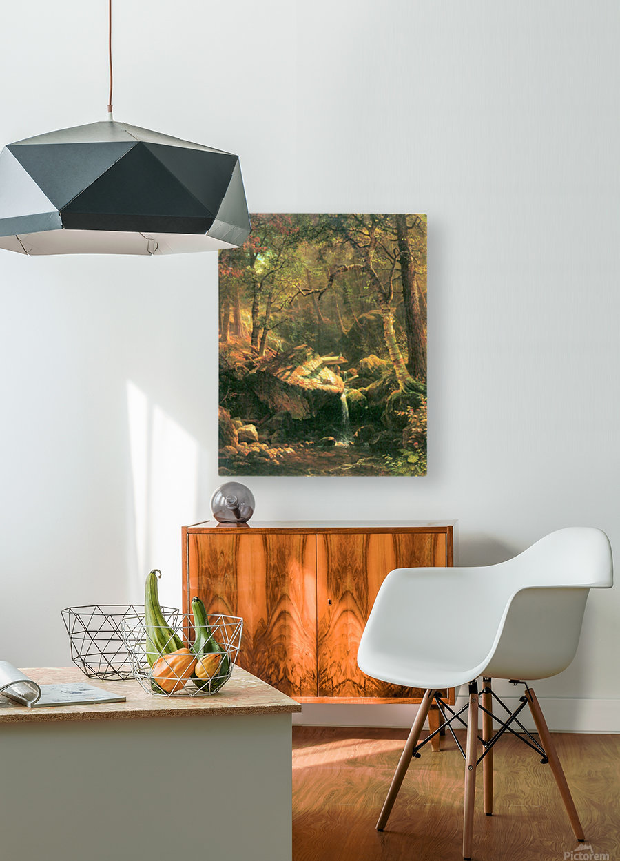 The Mountain by Bierstadt  HD Metal print with Floating Frame on Back