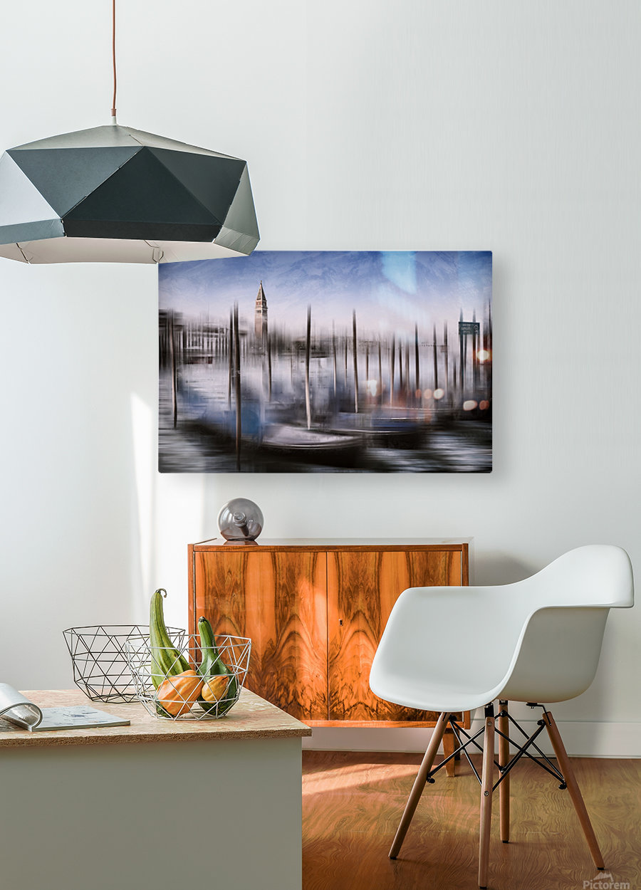 Digital-Art VENICE Grand Canal and St Mark's Campanile  HD Metal print with Floating Frame on Back