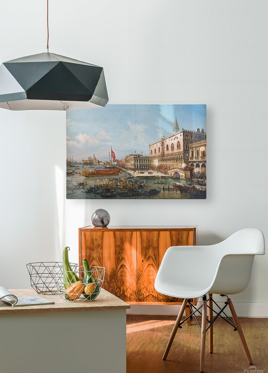 The Departure of the Bucintoro from San Marco to San Nicolo Del Lid  HD Metal print with Floating Frame on Back