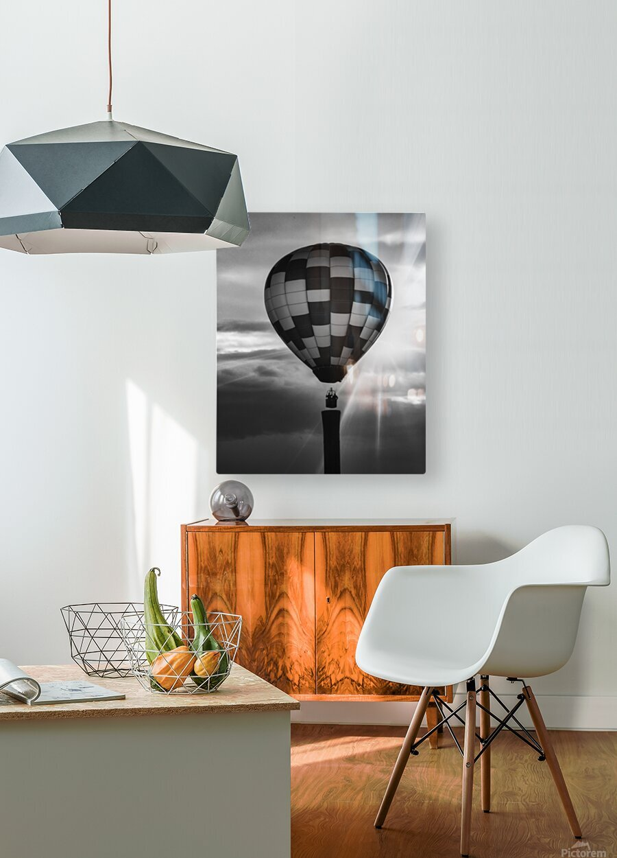 Hot Air Balloon On A Smokestack  HD Metal print with Floating Frame on Back