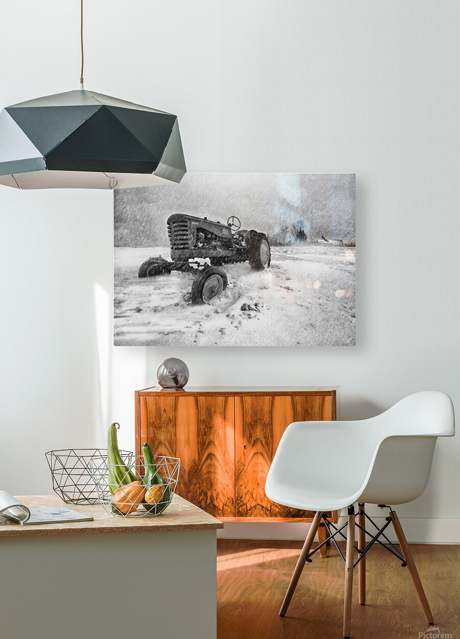 Winter Snow  Mountain Farm And Old Tractor  HD Metal print with Floating Frame on Back