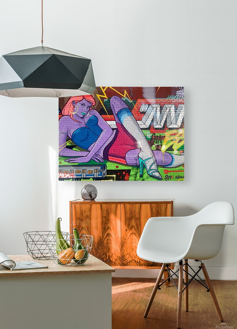 Graffiti Glam   HD Metal print with Floating Frame on Back