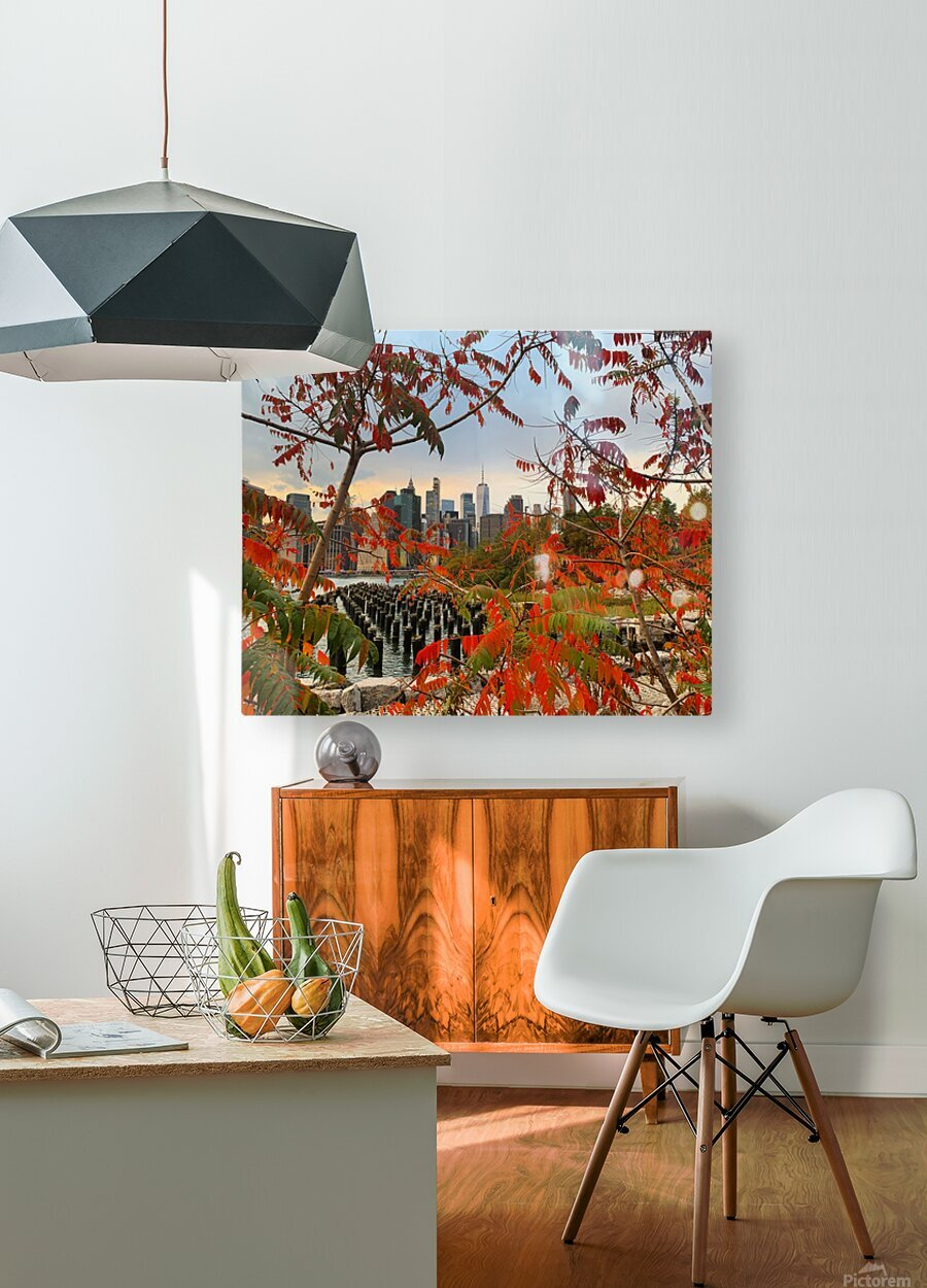 Autumn in New York   HD Metal print with Floating Frame on Back