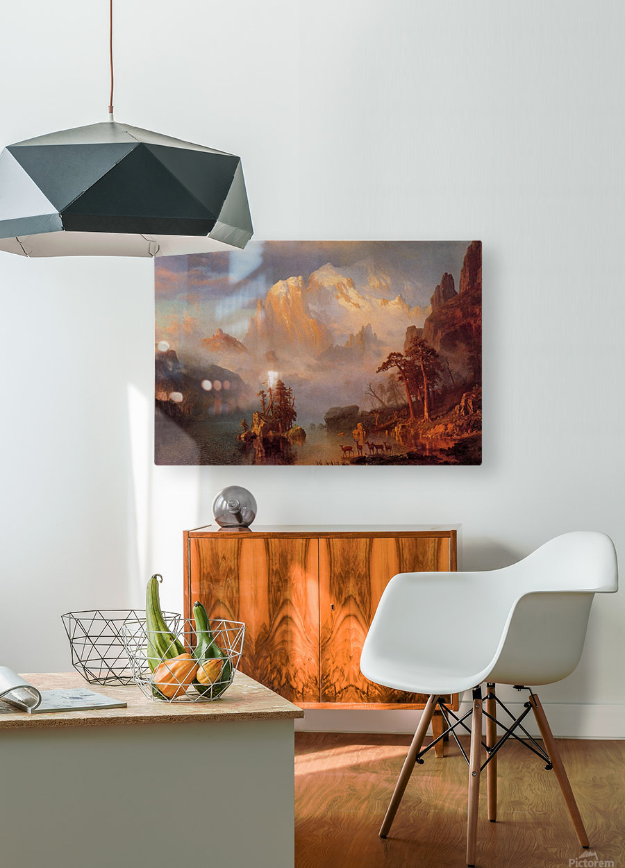 Rocky Mountains, 1866  HD Metal print with Floating Frame on Back