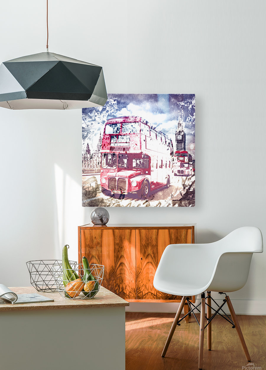 City-Art LONDON Red Buses on Westminster Bridge  HD Metal print with Floating Frame on Back