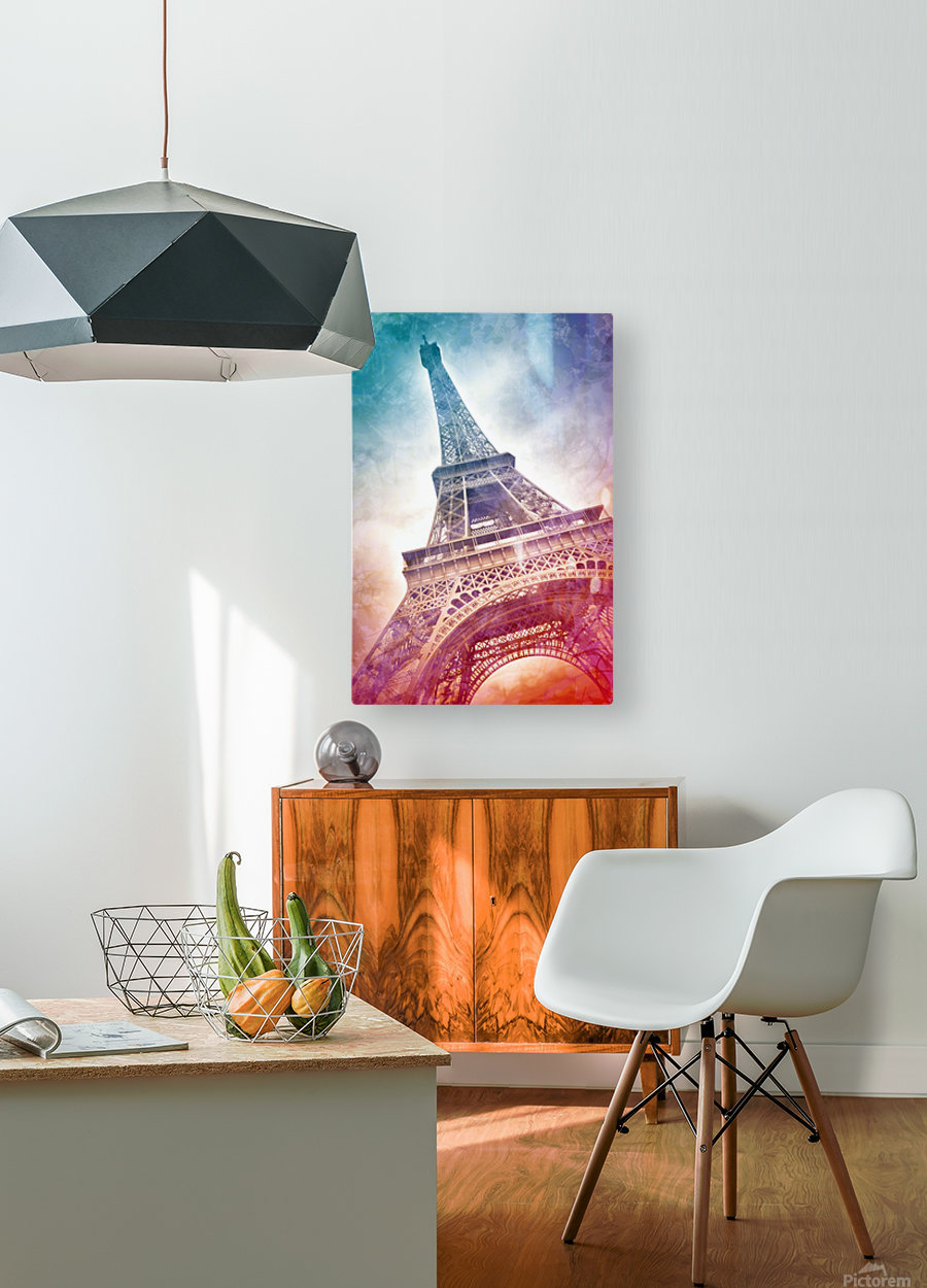 Modern-Art EIFFEL TOWER  HD Metal print with Floating Frame on Back