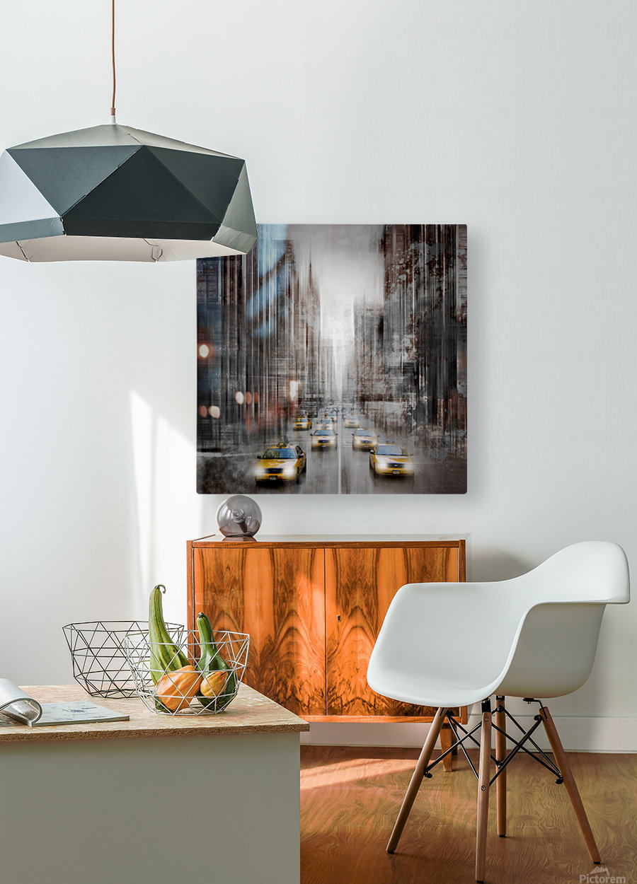City-Art NYC 5th Avenue Traffic  HD Metal print with Floating Frame on Back