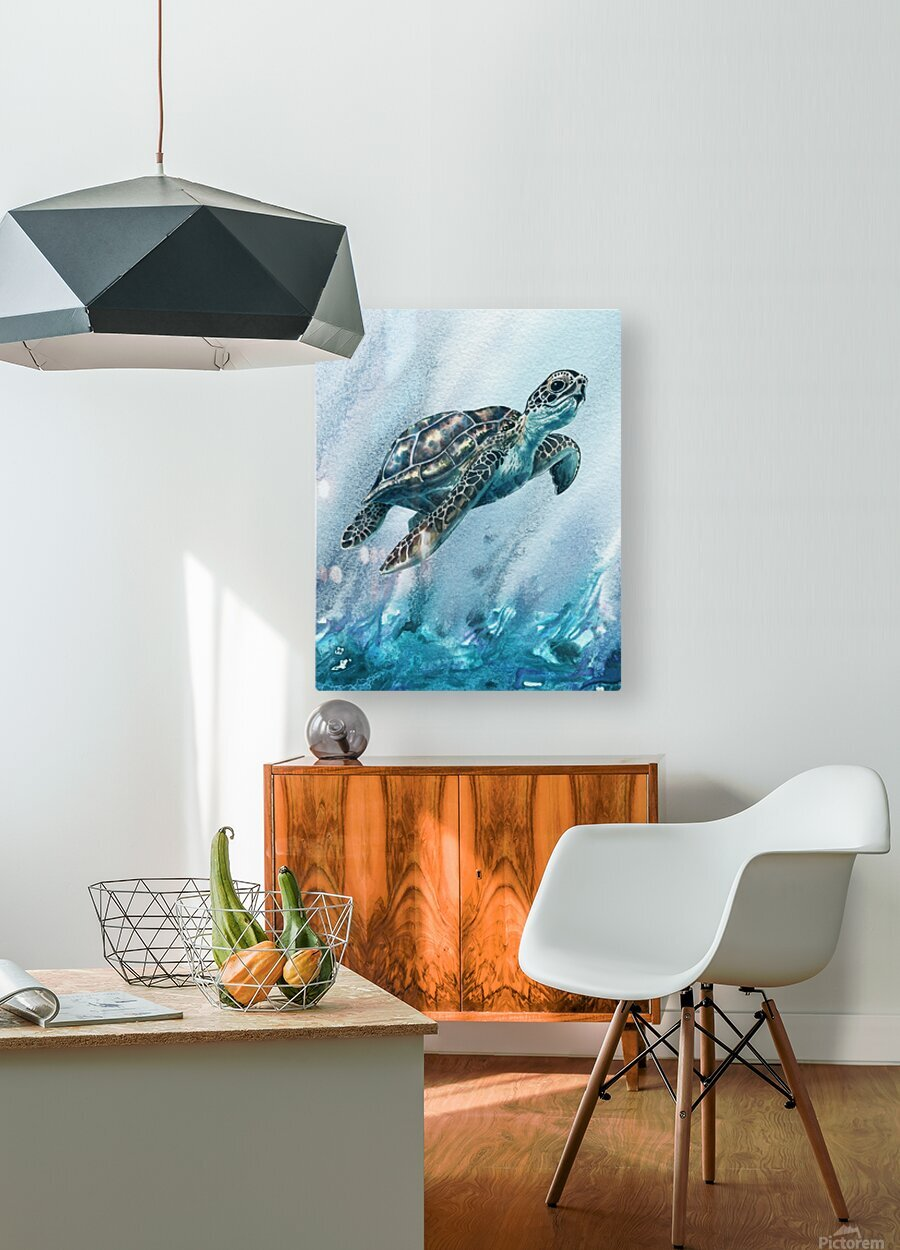 Watercolor Giant Turtle In Abstract Seaweed And Water XI  HD Metal print with Floating Frame on Back