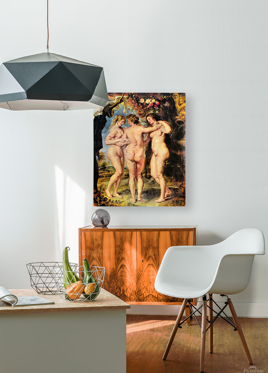 The Three Graces by Rubens  HD Metal print with Floating Frame on Back