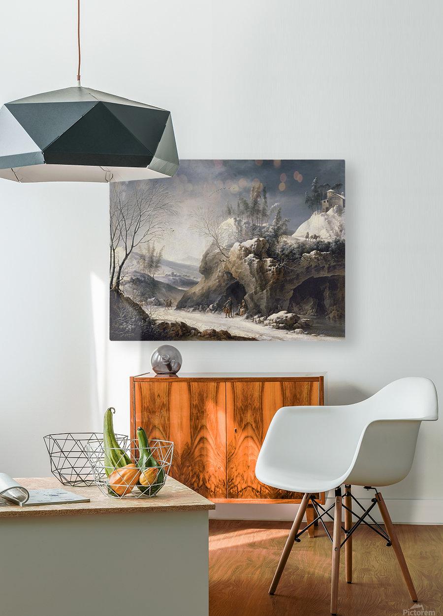 Paesaggio invernale con una famiglia di contadini  HD Metal print with Floating Frame on Back