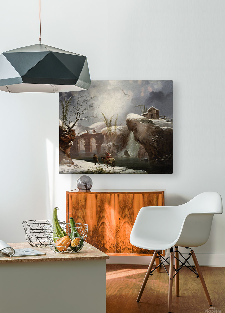 A winter landscape with travellers by a river  HD Metal print with Floating Frame on Back