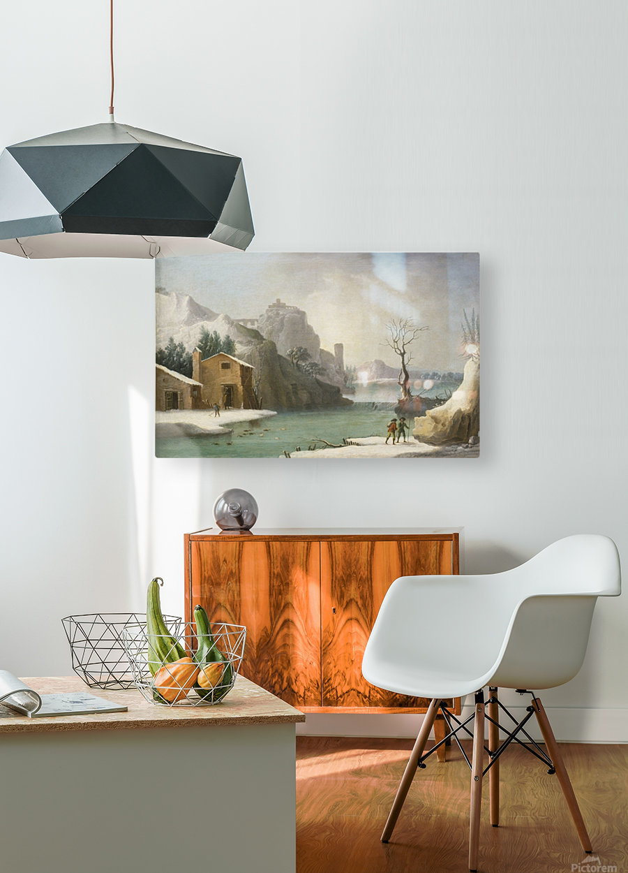 A winter landscape with travellers along a river, a Hilltop Town beyond  HD Metal print with Floating Frame on Back