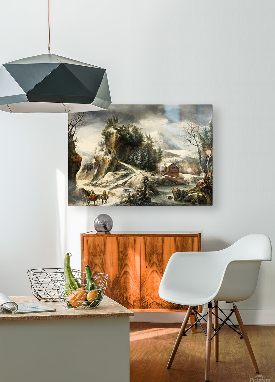 Winter landscape with a cavern and travellers  HD Metal print with Floating Frame on Back