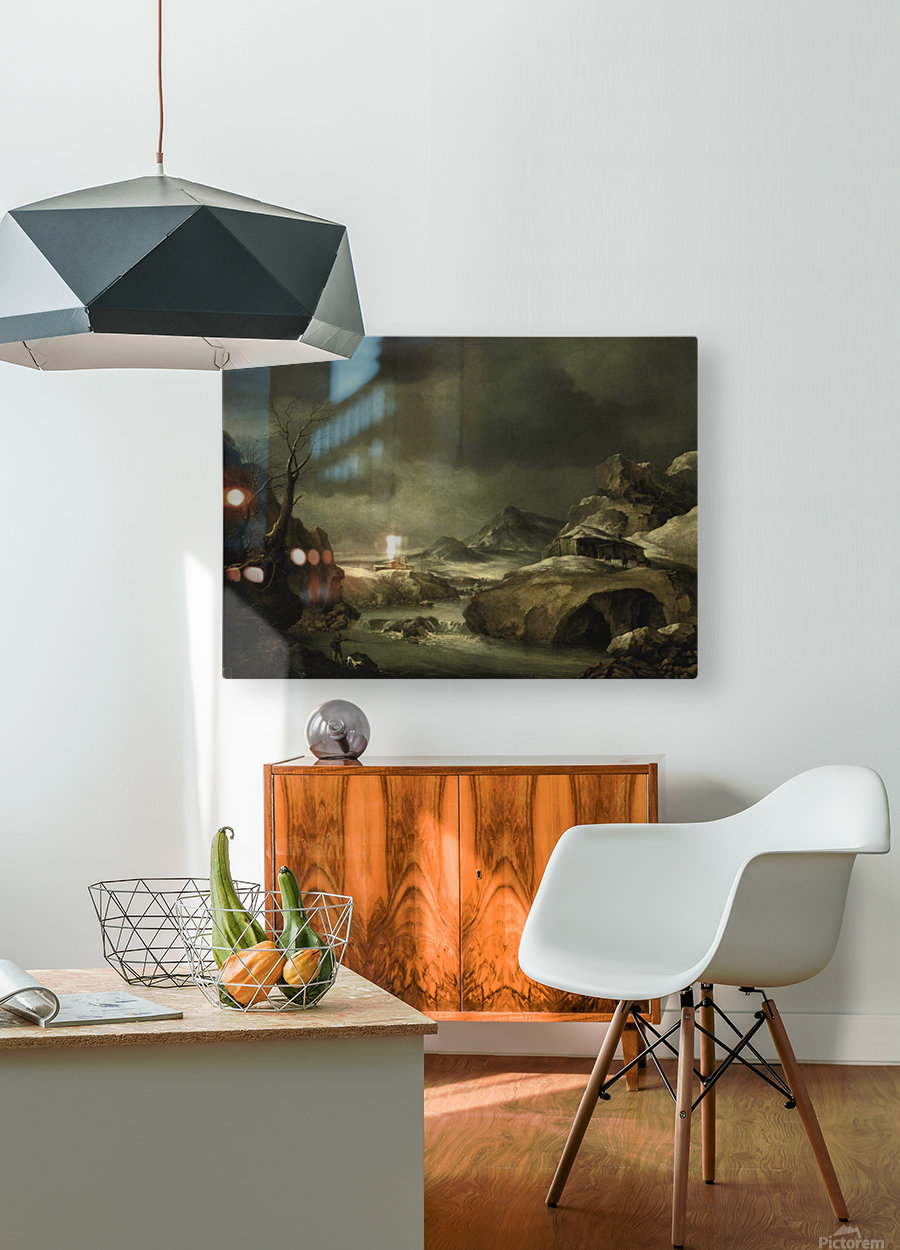 A mountainous winter landscape with a traveller arriving at a cottage  HD Metal print with Floating Frame on Back