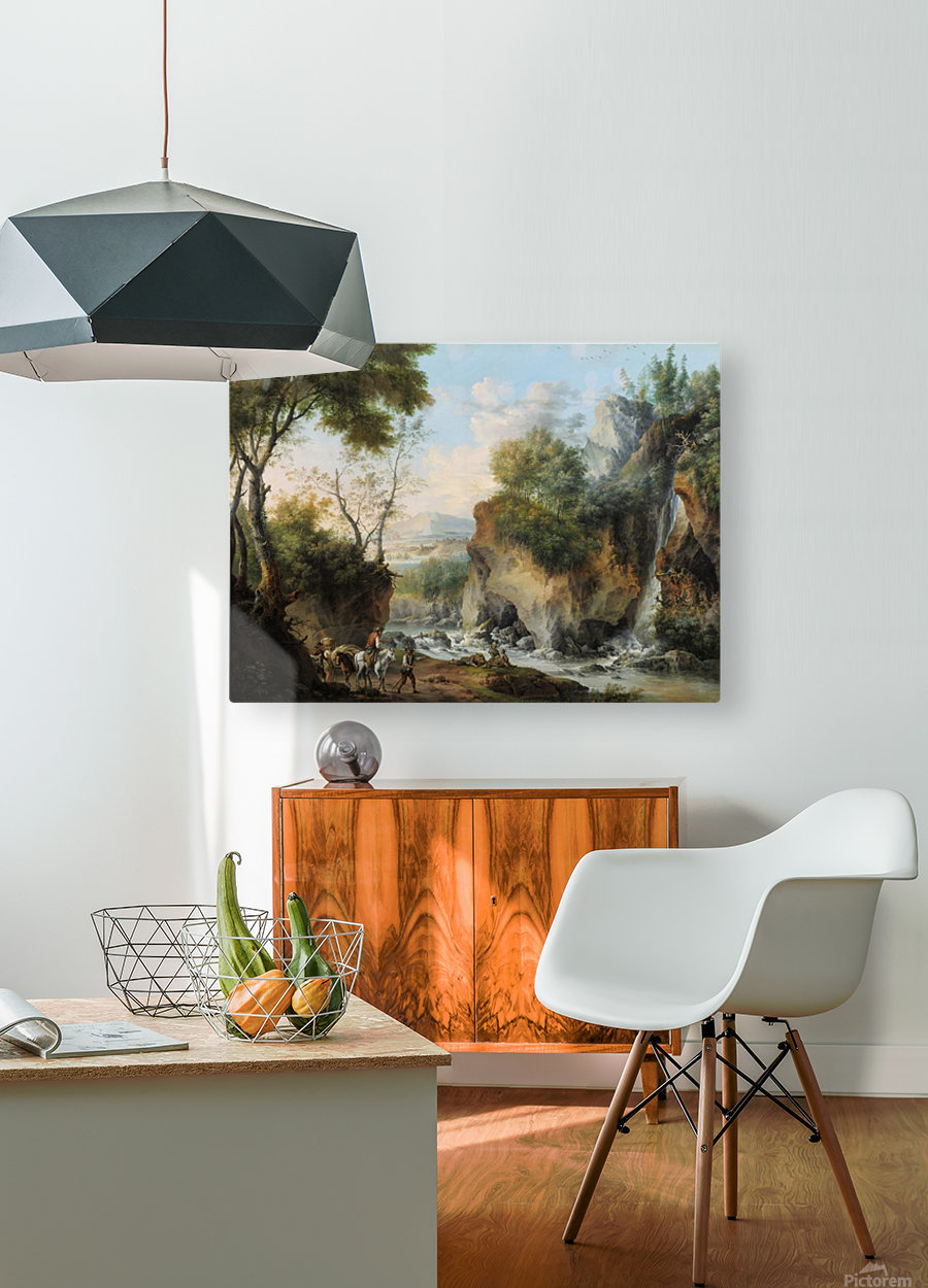 Landscape with figures along a river  HD Metal print with Floating Frame on Back