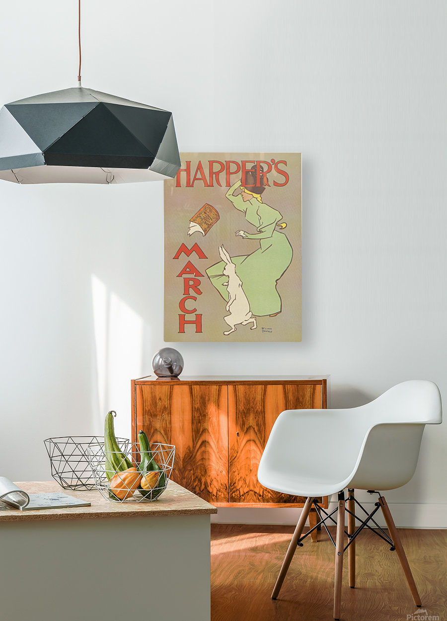 Harpers March Edward Penfield Mini Poster  HD Metal print with Floating Frame on Back