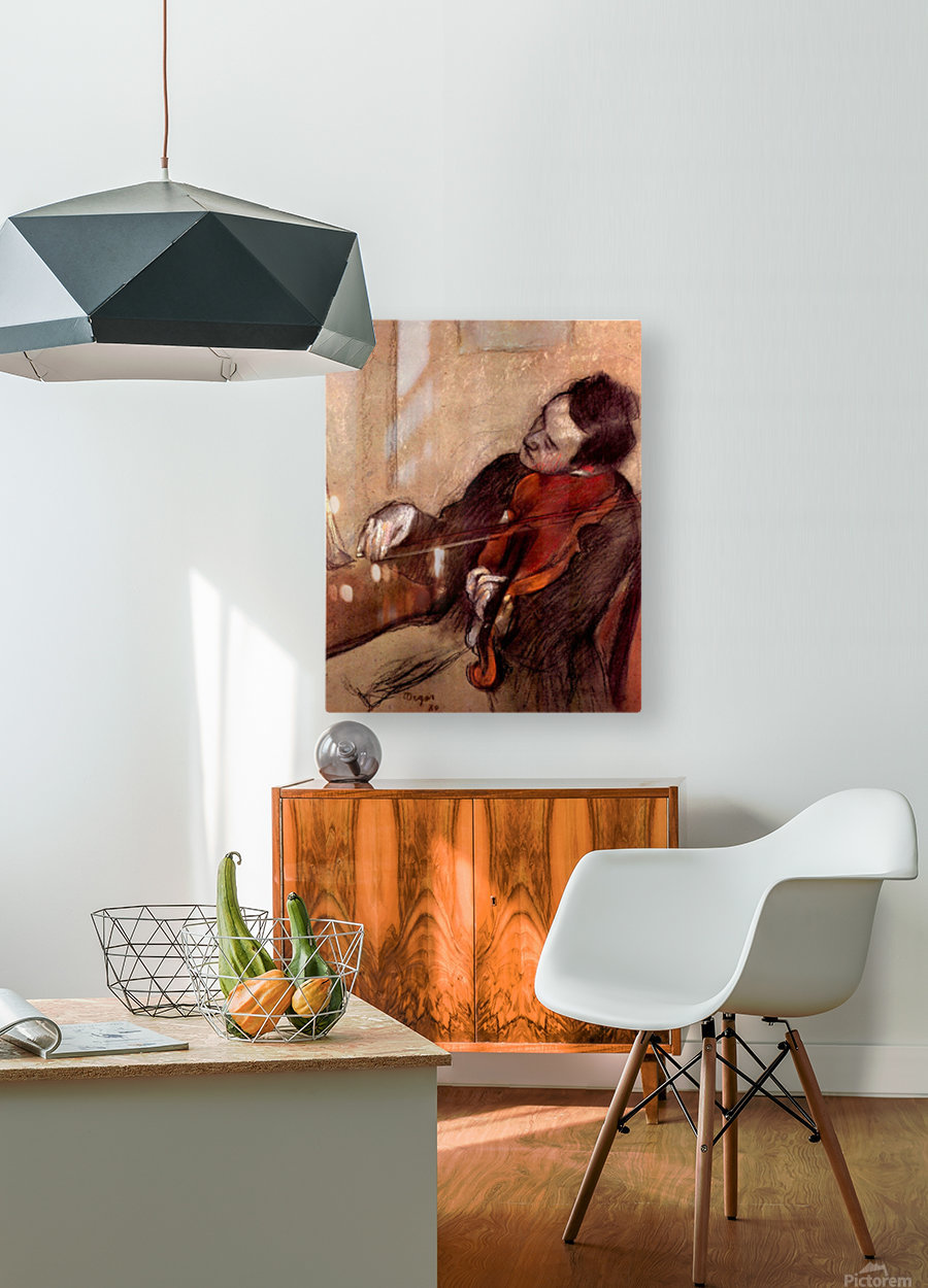 The violinist 1 by Degas  HD Metal print with Floating Frame on Back