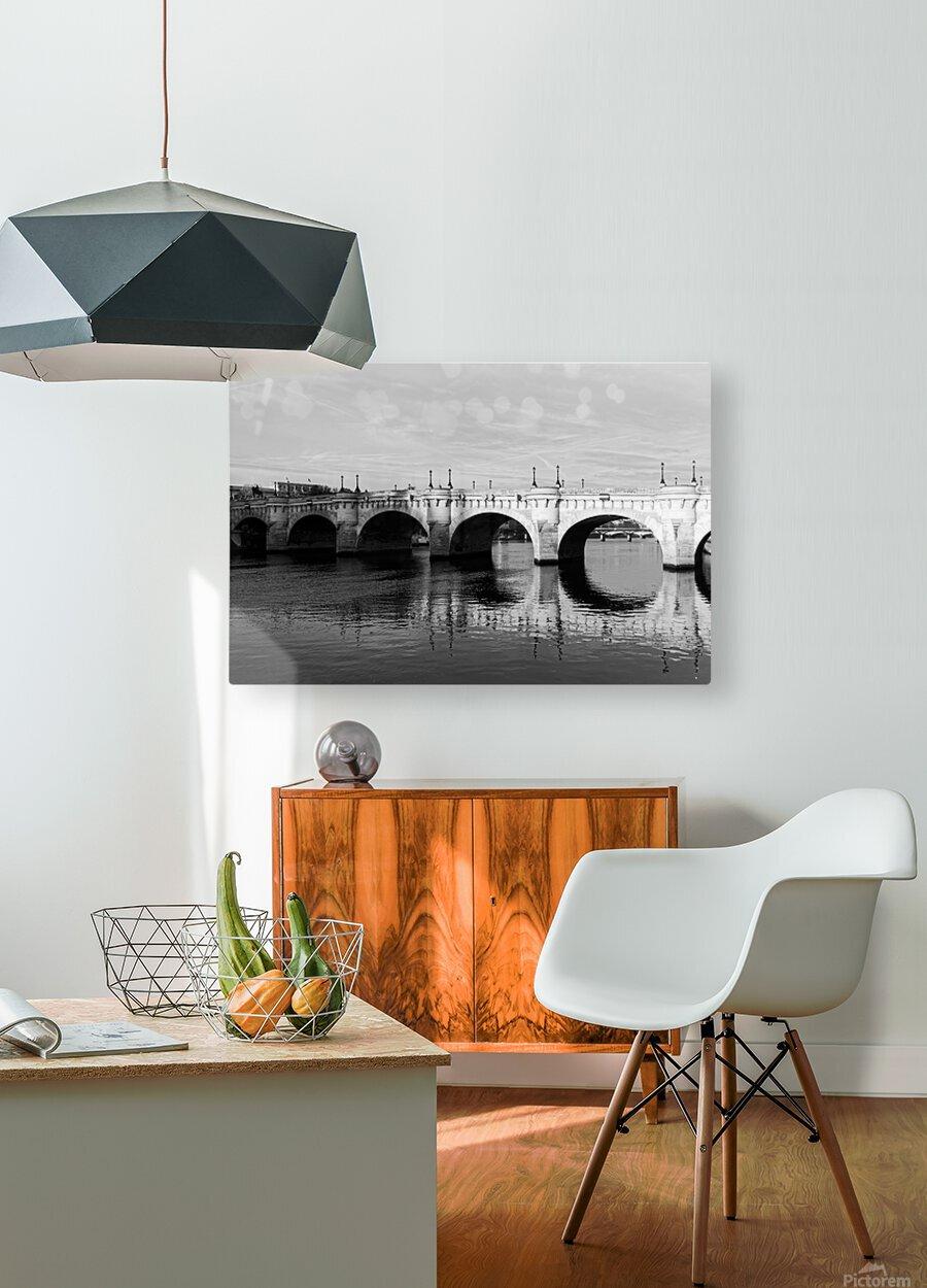 Pont Neuf Reflection  Impression métal HD avec cadre flottant sur le dos