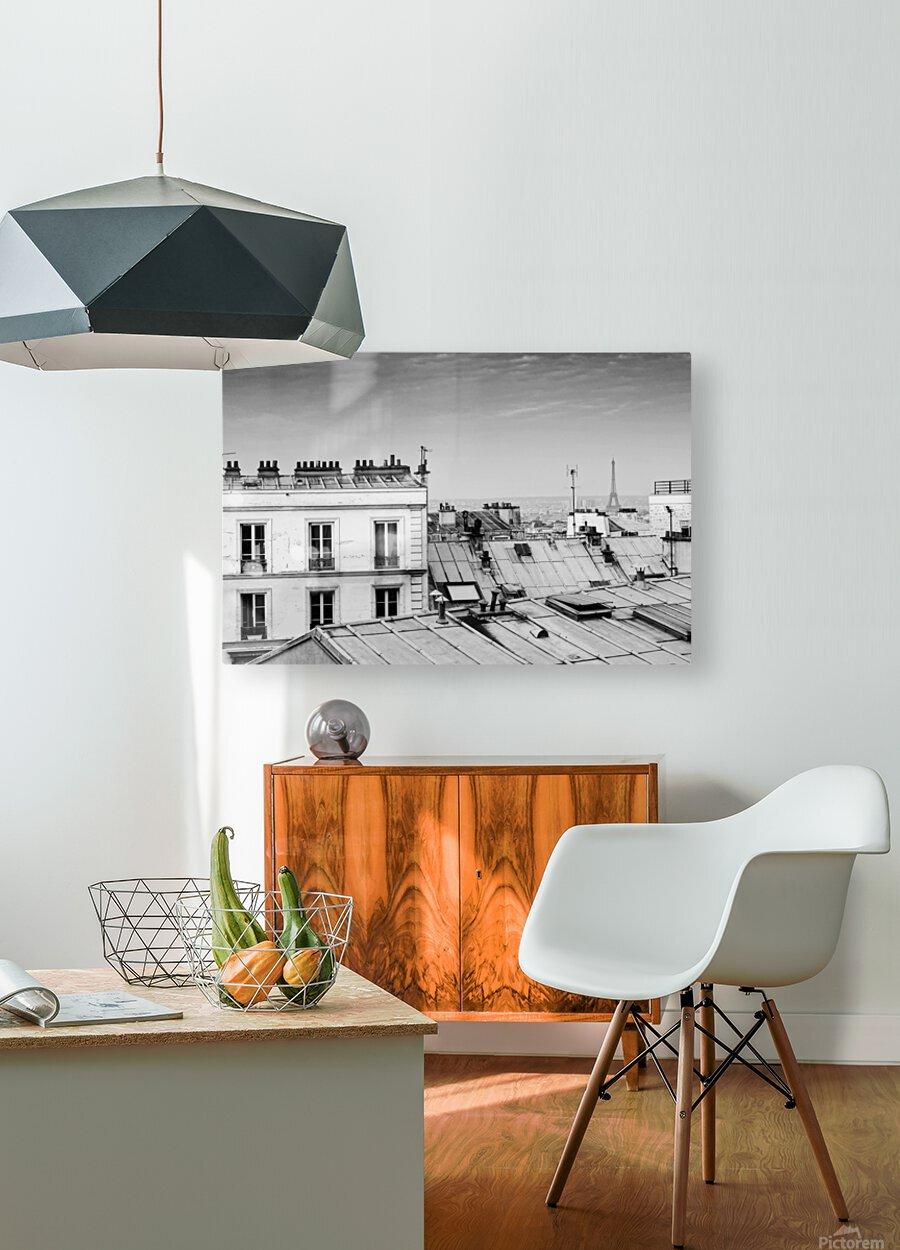 Roofs of Paris   Impression métal HD avec cadre flottant sur le dos