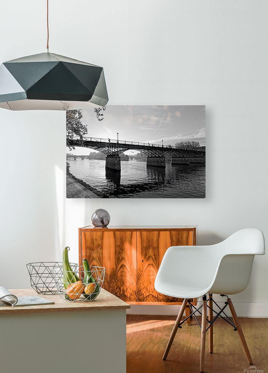 Pont des arts sunrise  Impression métal HD avec cadre flottant sur le dos
