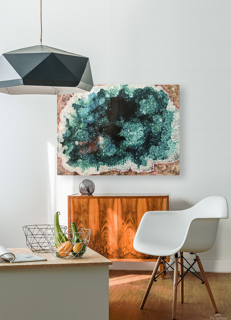 Green Geode  HD Metal print with Floating Frame on Back