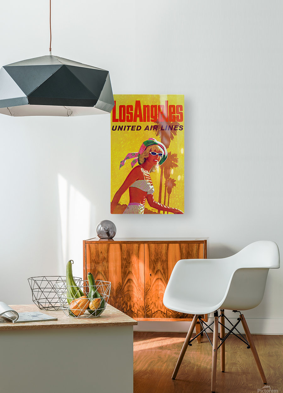 Los Angeles United Air Lines  HD Metal print with Floating Frame on Back