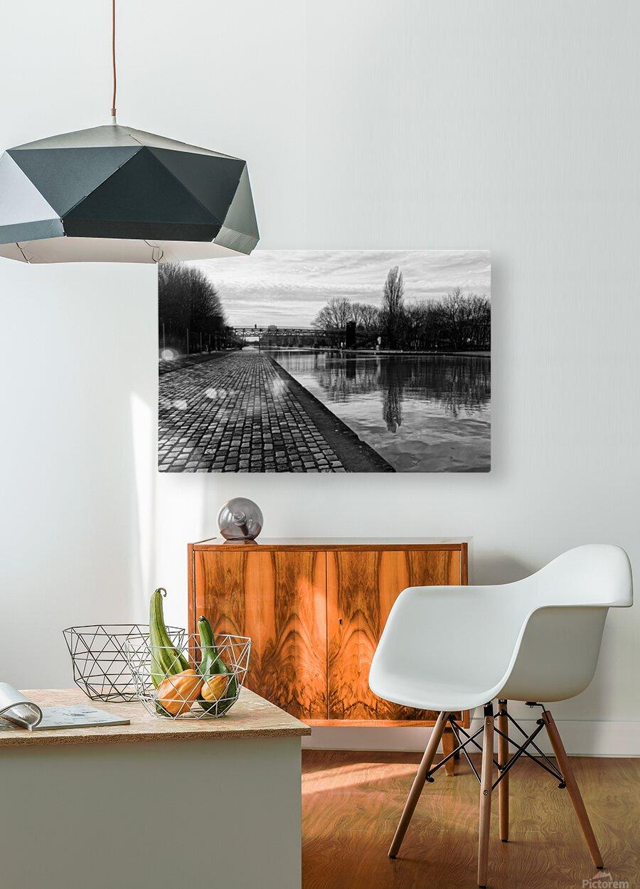 Ourcq canal  Impression métal HD avec cadre flottant sur le dos