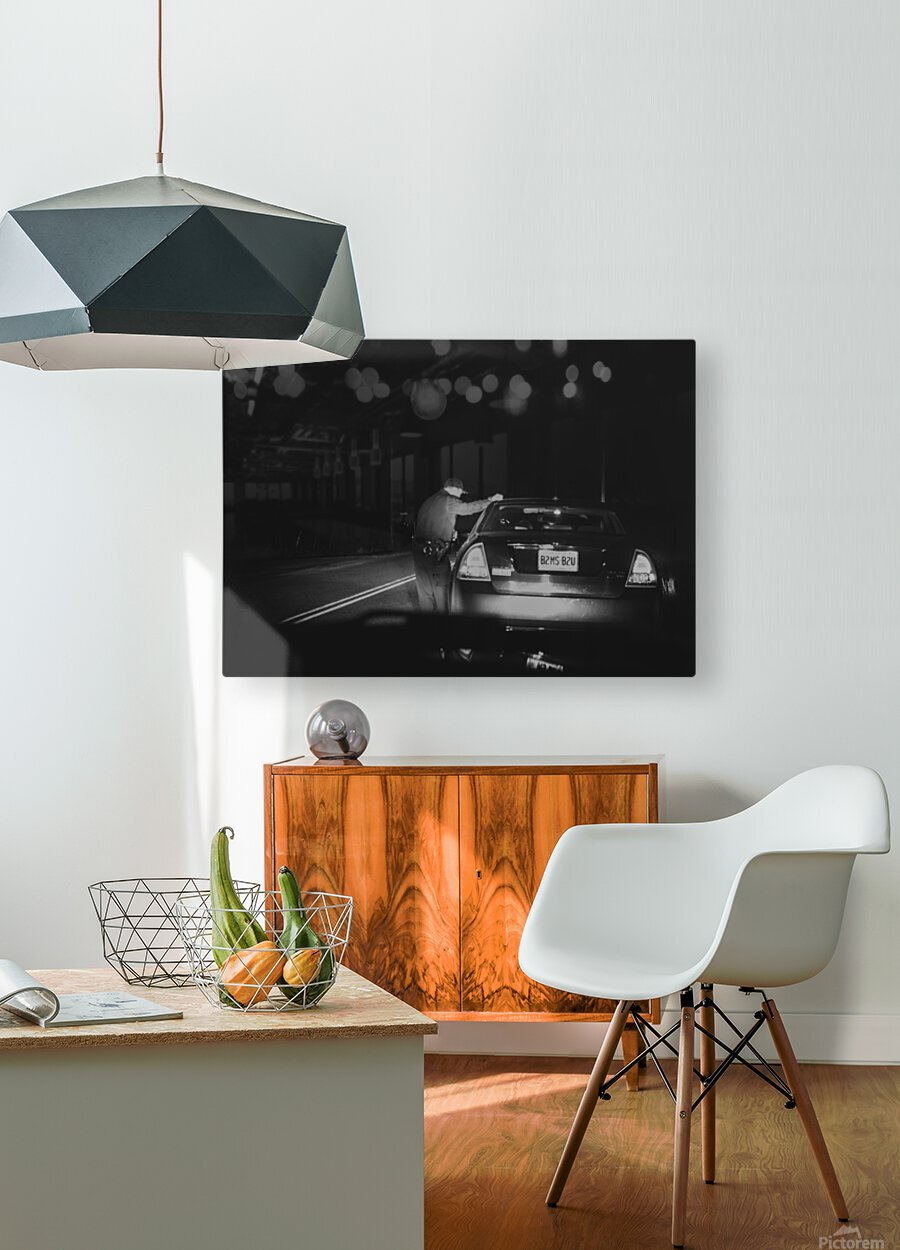 Late Night Traffic Stop  HD Metal print with Floating Frame on Back